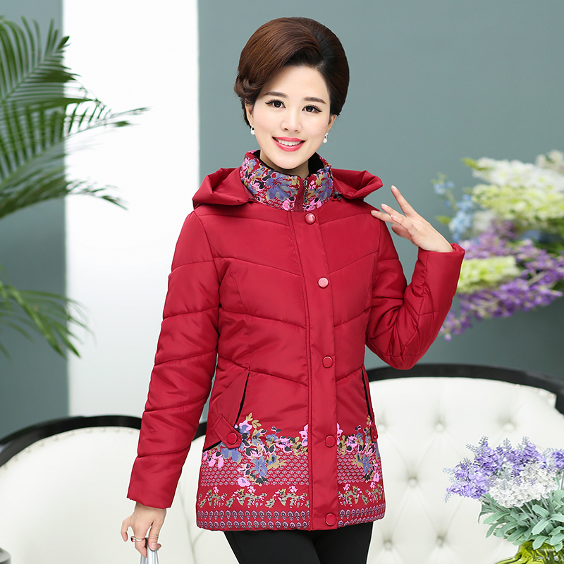 2017 The new middle-aged and elderly women winter coat winter winter jacket down thickening 2017 winter coat grandma installed in the elderly women 60 70 80 years old down jacket old lady tang suit