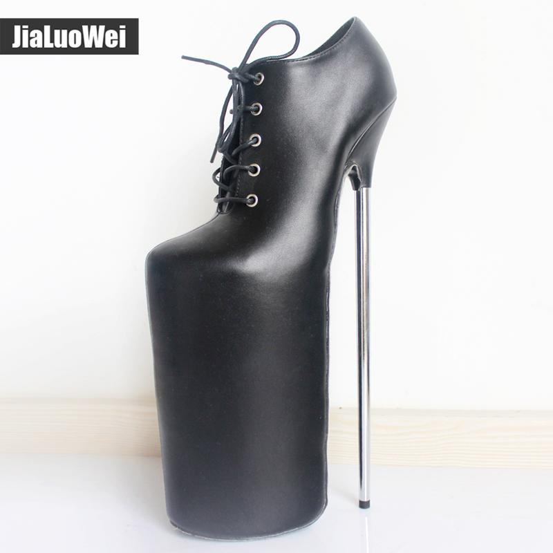jialuowei New 30CM Super High Metal Thin Heel Platform Lace-up Leather Women Sexy Fetish Nightclub Funny Shoes Ladies Boots