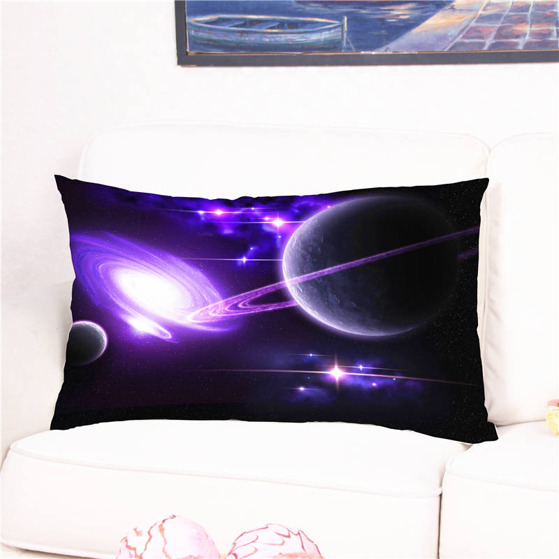 3D Planet Universe Printed Cushion Cover Cotton with Plush Square Pillow Case for Sofa Bed Housse Cushions 50*90cm