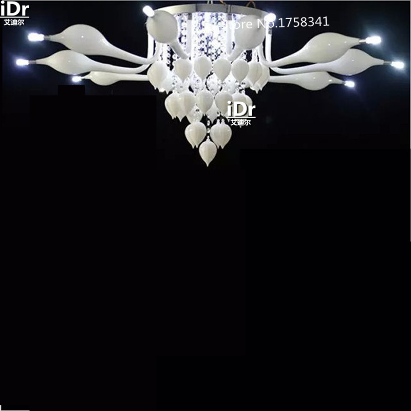 Diameter 1100mm living room Europe round crystal Chandeliers creative stainless steel round led lamps Swan