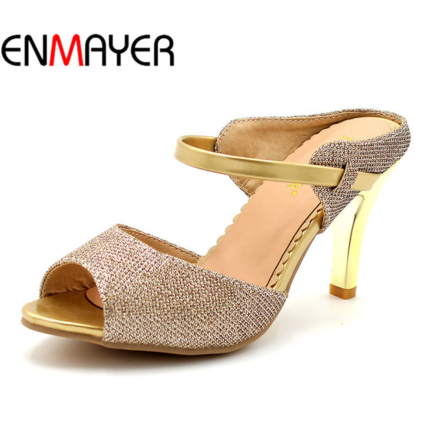 2177e011746 US $21.0 48% OFF|ENMAYER White Gold New High heel Shoes Sweet Summer  Fashion Shoes Gladiator Sandals With Cool Slippers Shoes Women Plus Size-in  High ...