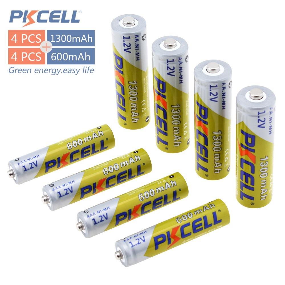 Pkcell 4pc card 1 2V AA 2A 1300mAh 4pc card AAA 3A 600mAh Rechargeable Batteries High