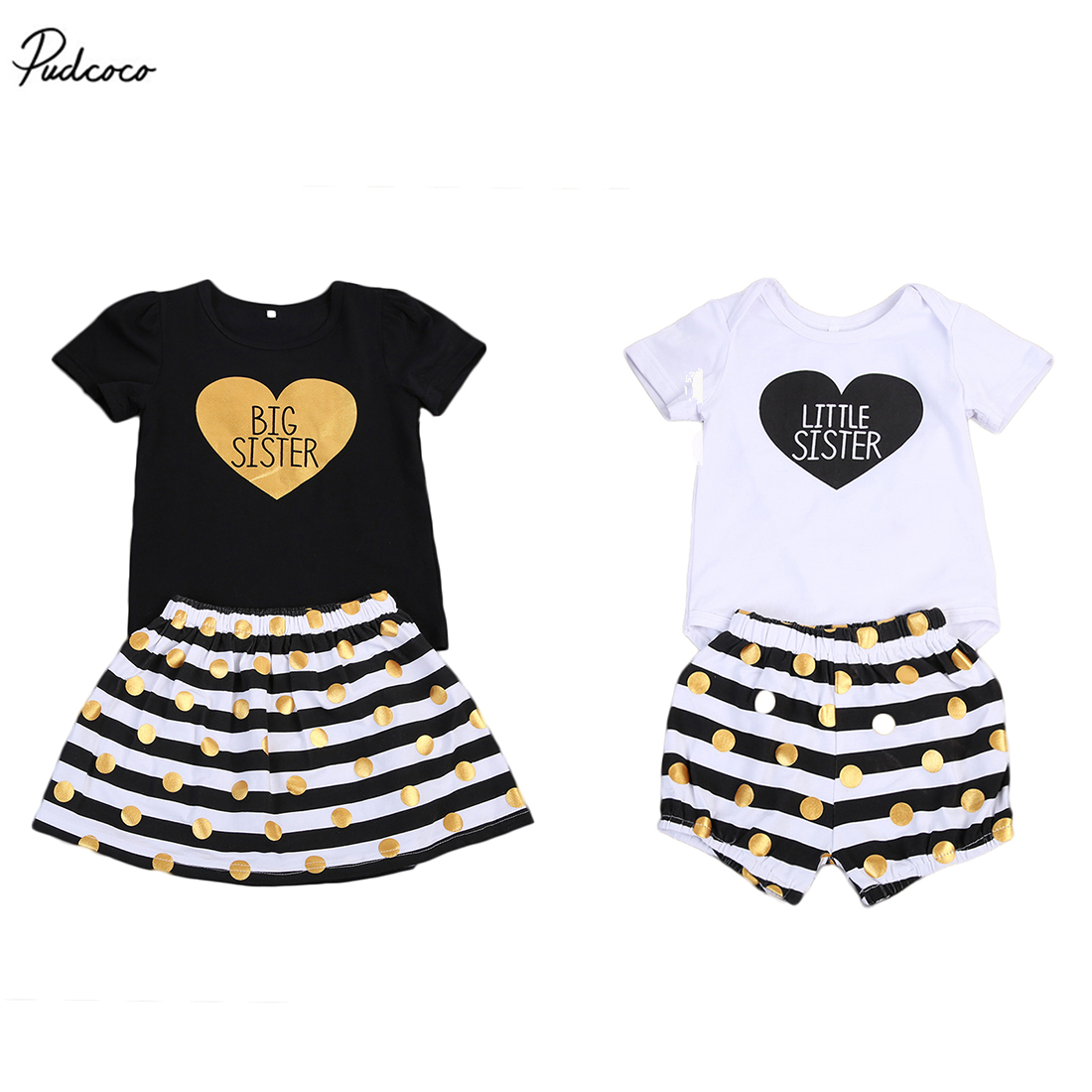 Family Clothing Kids Baby Girls Heart Little Sister Romper Pants Big Sister Short Sleeve T-shirt Polka Dot Dress Outfits Set