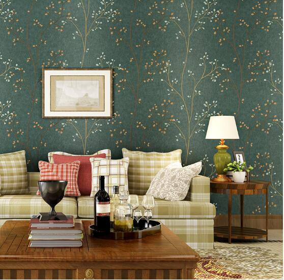 American Vintage Wallpaper Living Room Tv Blackish Wall Decor Rustic Wall Paper 3d Beige Blue Non