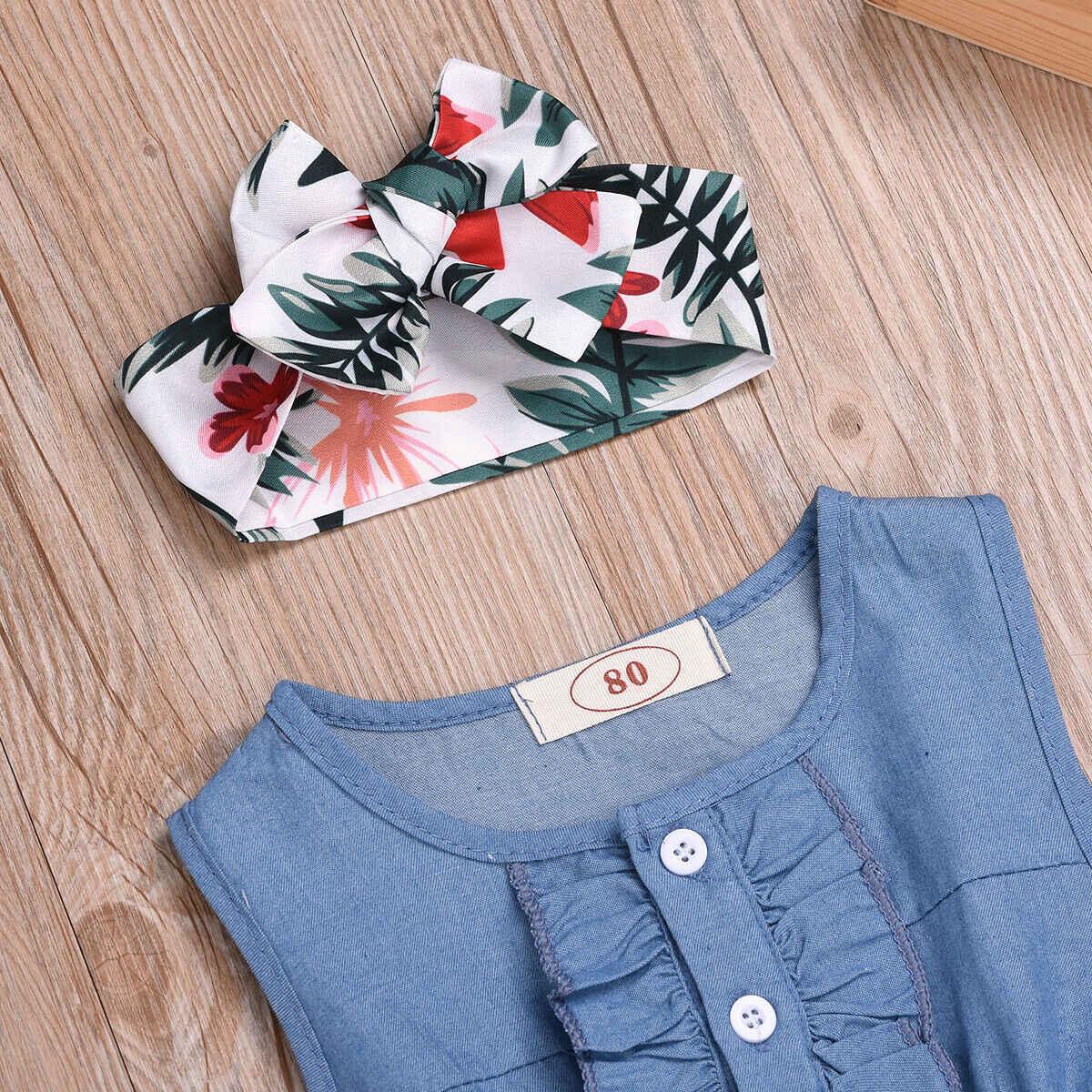 Robe d'été à boutons pour bébés filles de 1-6 ans, sans manches, motif Floral, bandeau