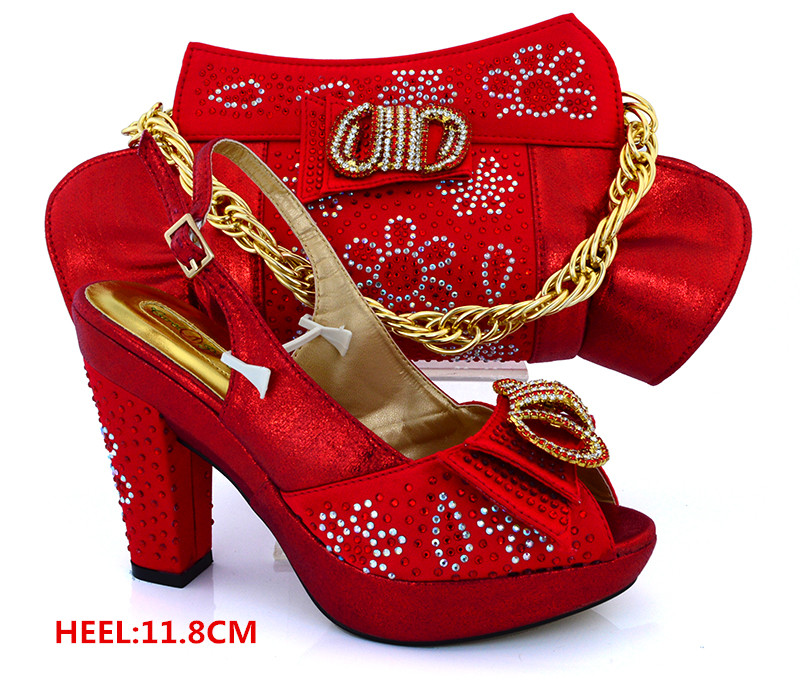 ФОТО Red African Wedding Shoes and Bags Matching Set Italian Matching Shoes and Bag  African Shoes and Bag for Party In Women MM1019