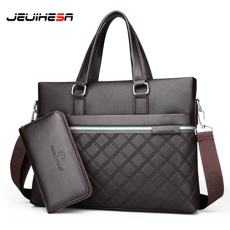 JEUIHESA Casual Business Computer Briefcase Men Bag Top Leather Handbag Crossbody For Men Shoulder Messenger Bags Travel Bags