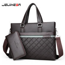 JEUIHESA Casual Business Computer Briefcase Men Bag Top Leat