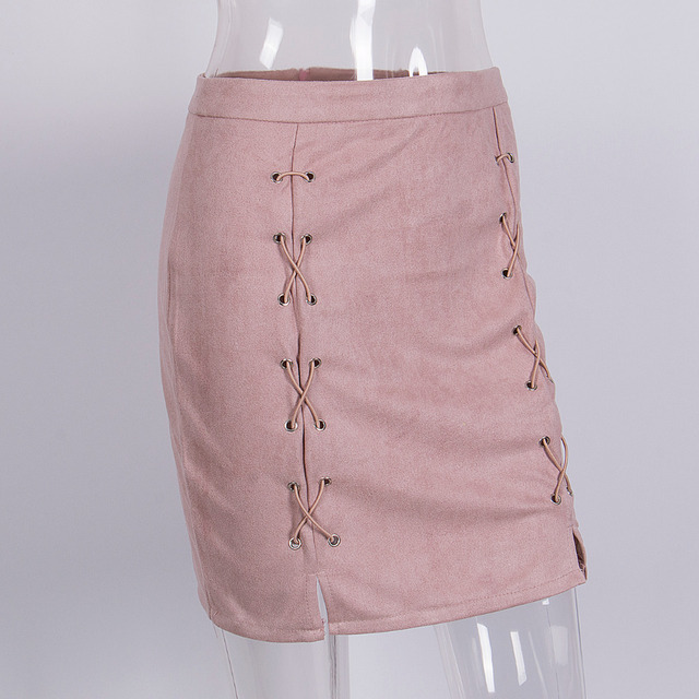 Latest High-Quality Leather Women Skirt Pink Classic Vintage All-Match Bandage Suede Skirt High Waist Bodycon Short Pencil Skirt