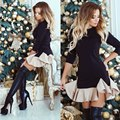 Spring Dress 2017 Brief Style Ball Gown Patchwork Three Quarter Sleeve Mini Dress Fashion Ruffles Black Elegant Women Dress