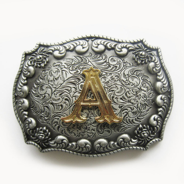 Retail Belt Buckle New Western Cowboy Initial Letter Belt Buckle A B C D E F G H I J K L M N O P Q R S T Free Shipping