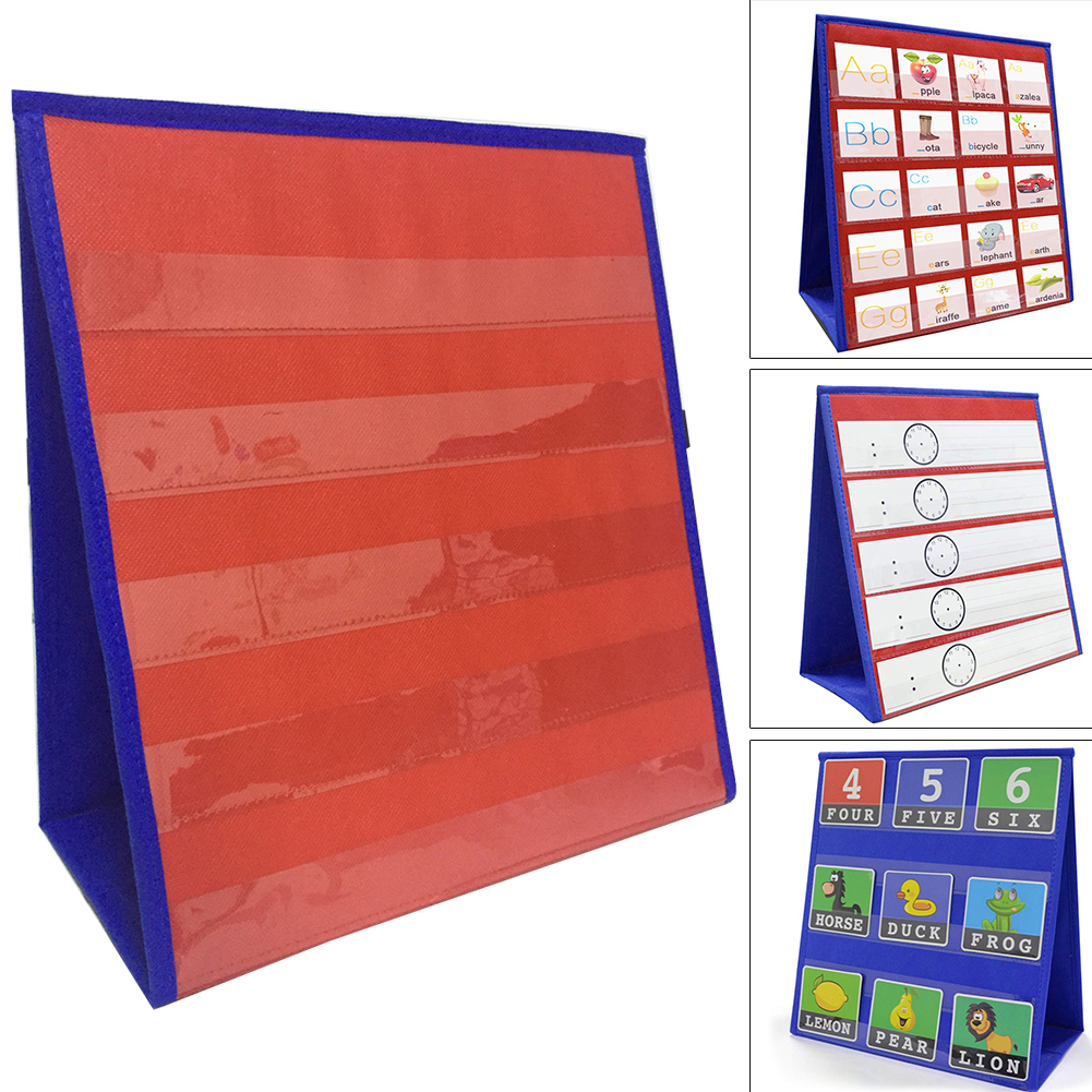 Mathematics Education Toys Two Tone Classroom Pocket Chart Double Sided Desk Home TeachingStudy 5 Slots Folding Number Display