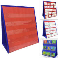 Mathematics Education Two Tone Classroom Pocket Chart Double Sided Desk Home teachingStudy 5 Slots Folding Number Display