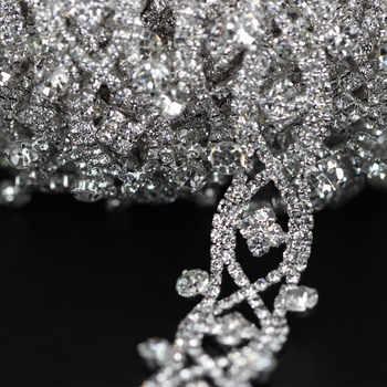 1 Yard Bridal crystal clear rhinestone patch appliques for wedding dress belt DIY Crafts Handmade sewing tassel fringe trimming