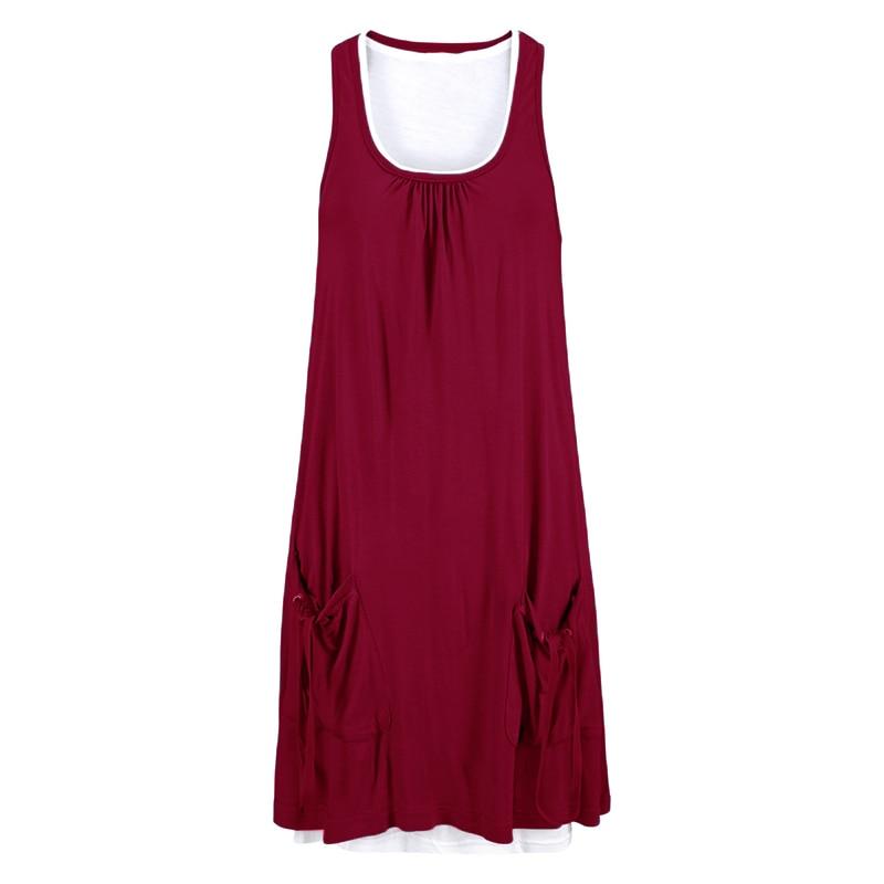 Women Dress 2018 Hot Summer Sexy Two Pieces O Neck Pockets Mini Dresses Casual Loose Sleeveless Beach Vestidos Plus Size