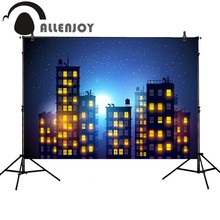 Allenjoy photography backdrop city building cartoon baby birthday superhero photobooth background computer printing high quality