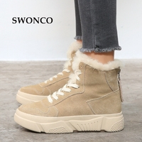 SWONCO Women's Platform Ankle Boot 2018 Winter Genuine Leather Fur Wool Snow Boots Winter Women Boots Platform Woman Warm Shoes