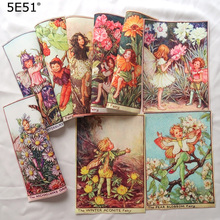 Handmade cloth DIY cotton canvas fabric / Decorative flower fairy print 15*21cm