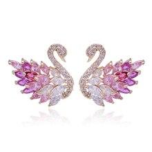 High Quality AAA Zircon Crystal Swan Stud Earrings Special Design Cute Gold Color OL Style Joker Ear Jewelry Brincos