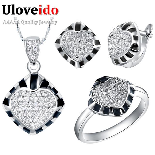 Anillos de cristal para Las Mujeres Negro Joyería de La Boda Establece 925 Collar De plata con Corazón Pendientes Anillo Tamaño 8 Ulove T174