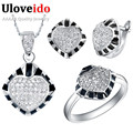 Crystal Rings for Women Black Wedding Jewelry Sets 925 Sterling Silver Necklace Set with Heart Earrings Ring Size 8 Ulove T174