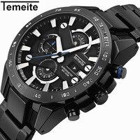 TEMEITE Fashion Sports Big Watch Men Quartz Clock Date Display Black Dial Top Brand Luxury Stainless Steel Strap Wrist Watches