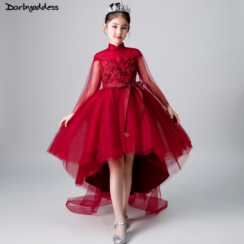 Burgundy   Flower     Girl     Dresses   for Party And Weddings High Low Ball Gown Pageant   Dress   for Little   Girls   First Communion   Dress   2018