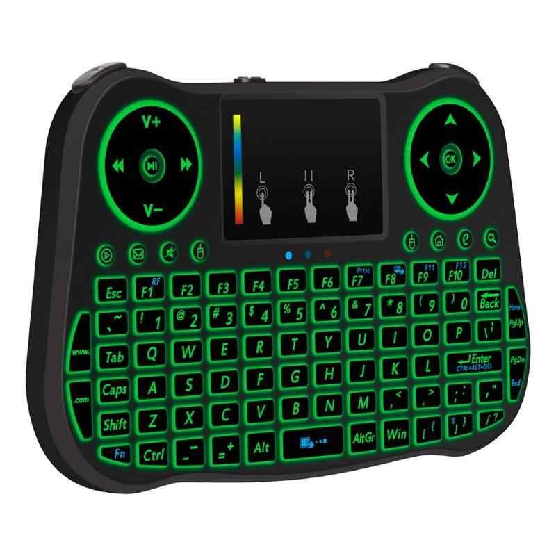 MT08 2.4 GHz 77 Tasti Mini Tastiera Senza Fili con il Touchpad Portatile A Distanza di Aria di Controllo Del Mouse con Cavo USB/Ricevitore per la TV/PC