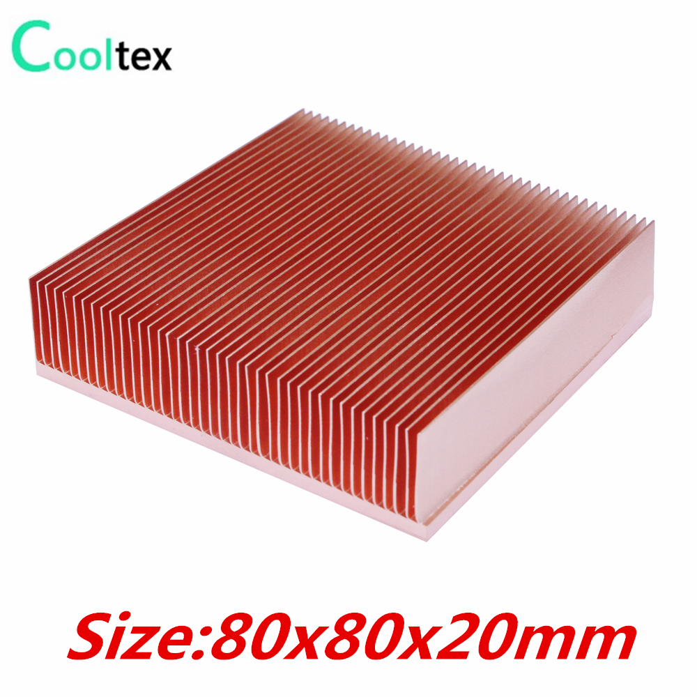 Pure Copper Heatsink 80x80x20mm Skiving Fin Heat Sink Radiator For Electronic  Chip LED  Power Amplifier Cooling Cooler 10pcs lot ultra small gvoove pure copper pure for ram memory ic chip heat sink 7 7 4mm electronic radiator 3m468mp thermal