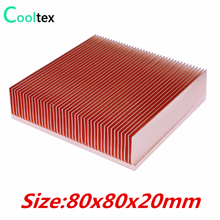 Pure Copper Heatsink 80x80x20mm Skiving Fin Heat Sink Radiator For Electronic Chip LED Power Amplifier Cooling Cooler