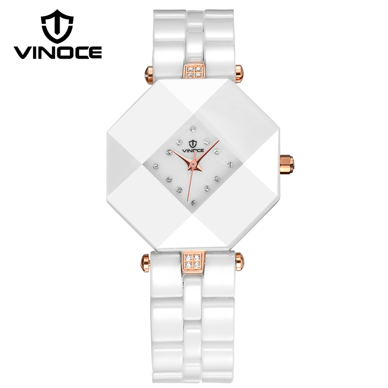 ФОТО VINOCE Top Brand Luxury Quartz-Watch Women Full Ceramic Ladies Watches Elegant Crystal Diamond Leather Band Montre Femme 633228