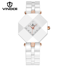 VINOCE Top Brand Watches Women Luxury Crystal Diamond Ceramic Bracelet Watches Waterproof Montre Femme Ladies Wristwatch #633228