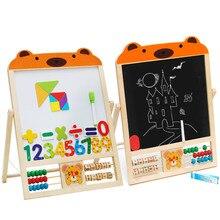 Двусторонняя рисования Магнитная маленький черный доски real деревянные детские доска стенд детей раннего учебных пособий