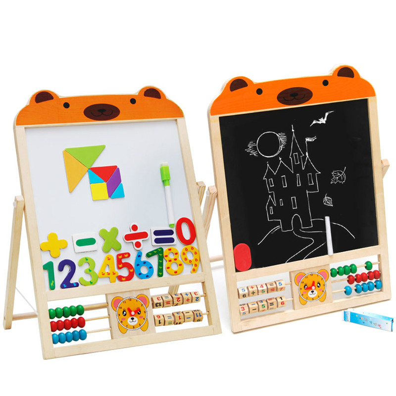 Double sided drawing magnetic small black whiteboard real wood baby writing board blackboard stand children early teaching AIDS