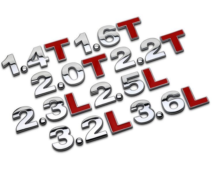 1.8L 1,8 T 2,0 T 3,0 T 3,2 L 2.4L 3.0L T 3.6L автомобильный двигатель литров, хромированный металлический стикер, 3D украшение автомобильного объема