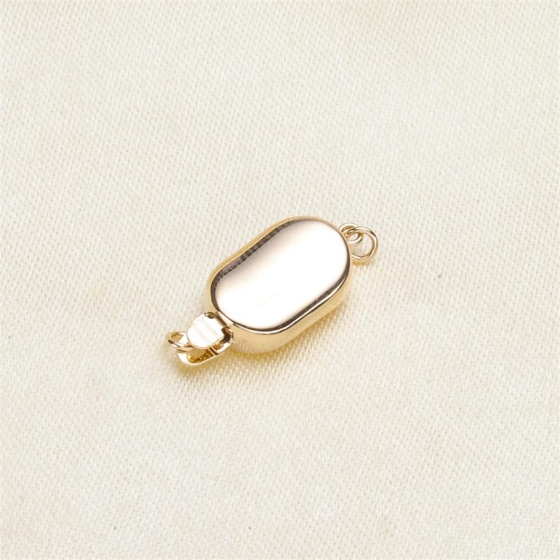 Bricolage accessoires perle d'eau douce jade collier bracelet chandail chaîne à une rangée moraillon G14K doré pois patch boucle