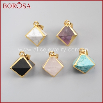 BOROSA 10 pcs/lot Drusy Gold Color Pyramid Point Multi-Kind Stones Faceted Pendant Bead  Druzy Jewelry G1004