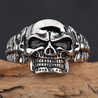 Huge and Heavy Men's Skull Head stainless steel cuff bangle biker jewelry S143