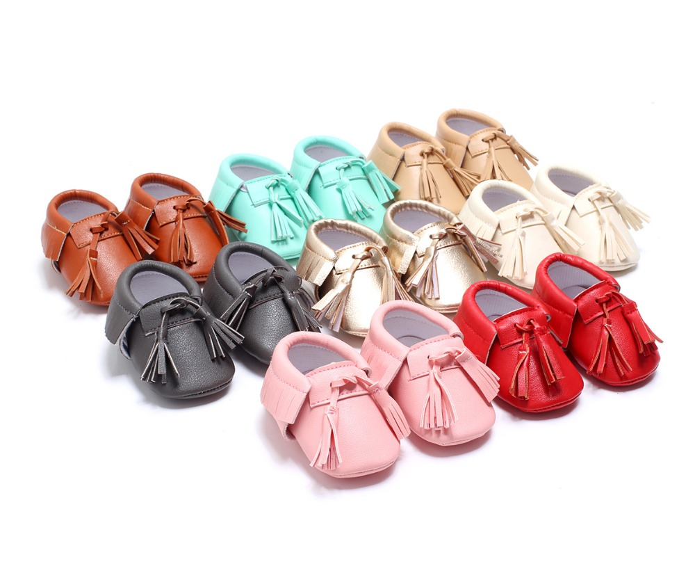 New Baby First Walker Soft Bottom Fashion Tassels Baby Moccasin Newborn Babies Shoes 8colors PU leather Prewalkers