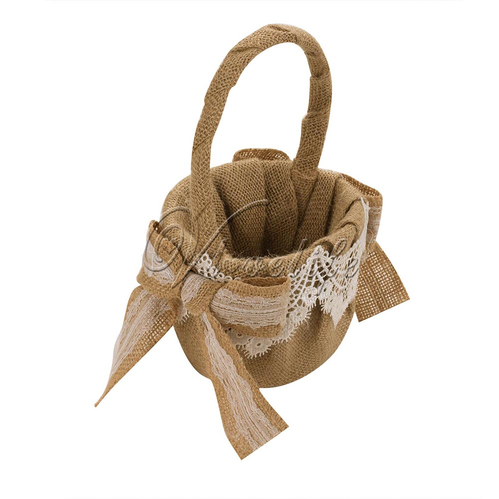 Retro Flower Basket Burlap Wedding Basket With Lace Satin Ribbons
