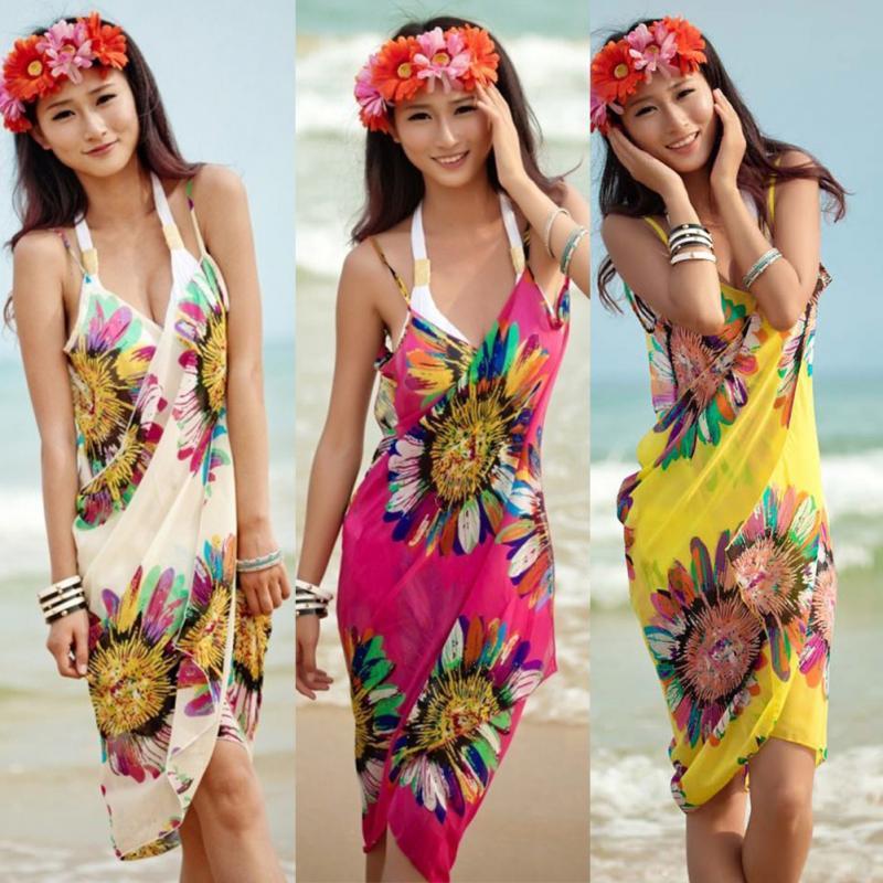 Lady Chiffon Bikini Dress Cover Up Spaghetti Stripe Loose Women's Beach Cover-ups Beach Wear женская туника для пляжа beach cover up beach cover ups