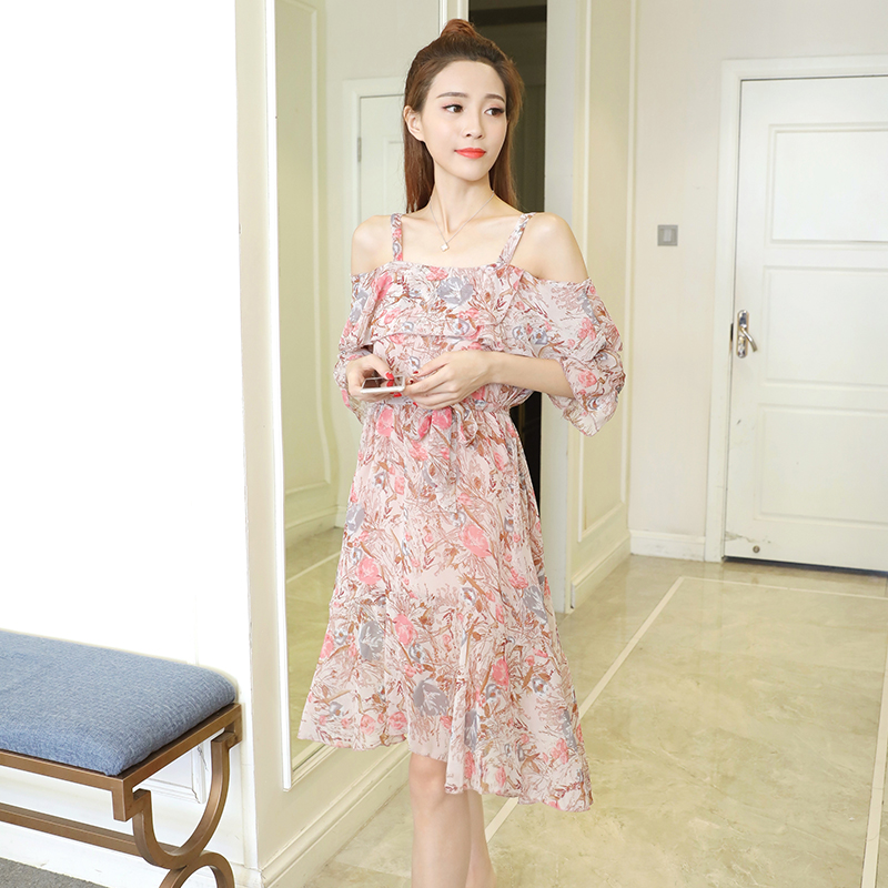 2017 New Women dress Slash neck Spaghetti Strap Chiffon Print In Long Shoulder Large Pendulum Dresses Pink Light Green 0516