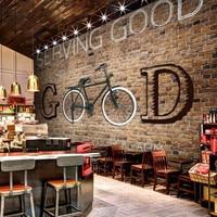 Custom vintage retro style three dimensional letters industry Internet restaurant cafe bar KTV bicycle brick pattern wallpaper
