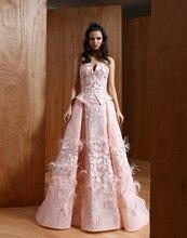 Oumeiya omy541 2016 V-ausschnitt hohe qualität Abendkleider Spitze Appliques Blumen Mit Federn Formales Abschlussball-kleider Sleeveless