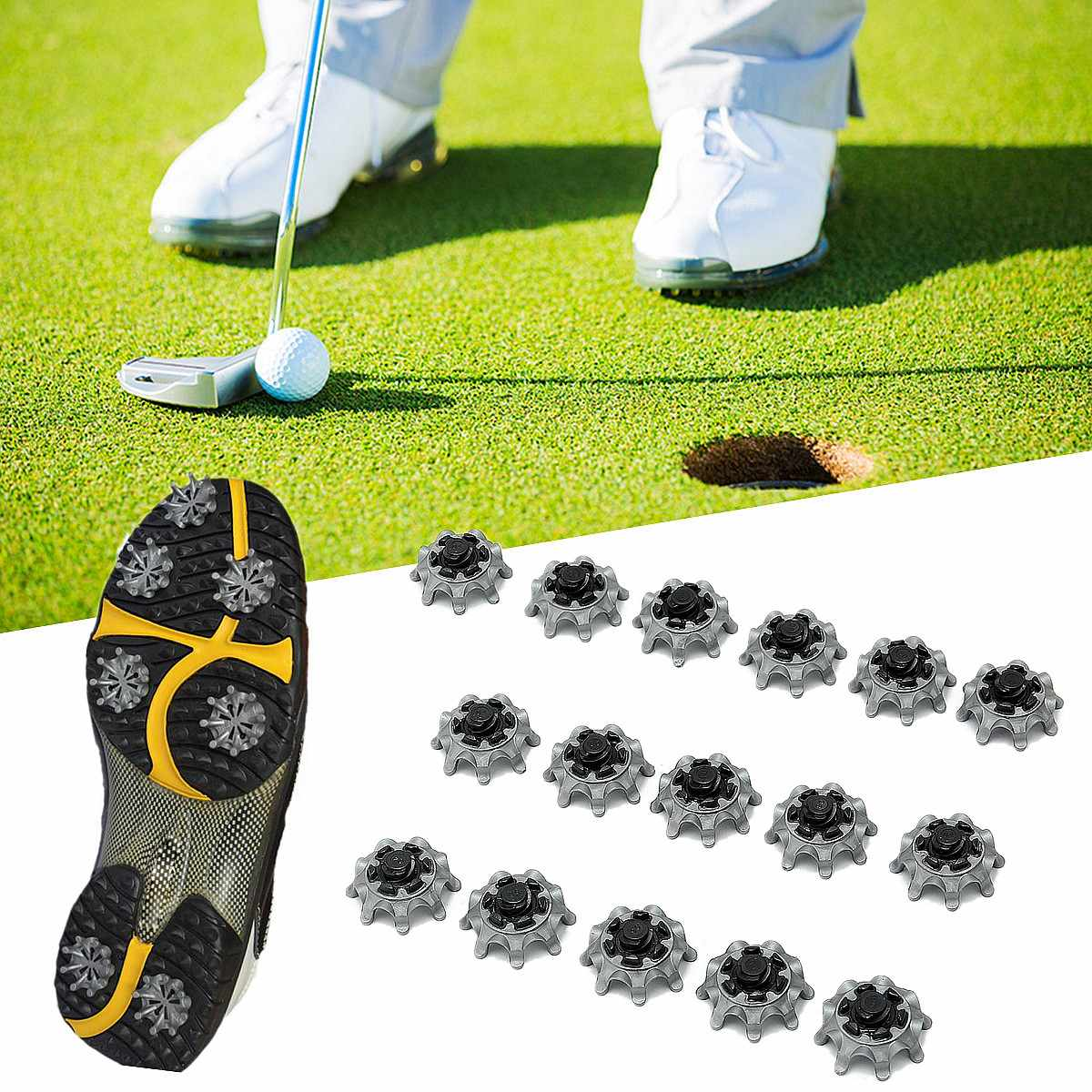 BSAID 16 pcs/lot Golf Shoes Spikes Replaceable Pins 1/4 Turn Studs Cleats Fast Twist Shoe Spikes Golf Practice Accessories все цены