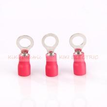 цена на 1000pcs/lot RV1.25-10 red Circular Pre-insulating Terminal 5/16 Ring Copper Terminals TO-JTK type 0.5-1.5 SQ MM Copper Nose