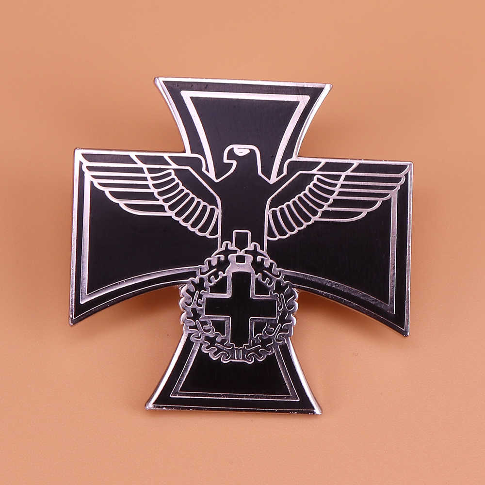 Bahasa Jerman Eagle Pin Cross Bros Perak Hitam Pria Badge Bahasa Jerman Reich Perhiasan Federal Eagle Kerah Pin Mantel Kemeja Aksesoris