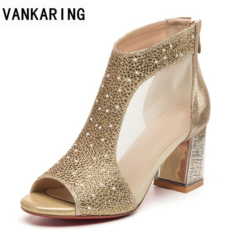 VANKARING 2018 women party dress shoes sexy peep toe ankle boots sandal woman crystal sandalias bling summer shoes zapatos mujer