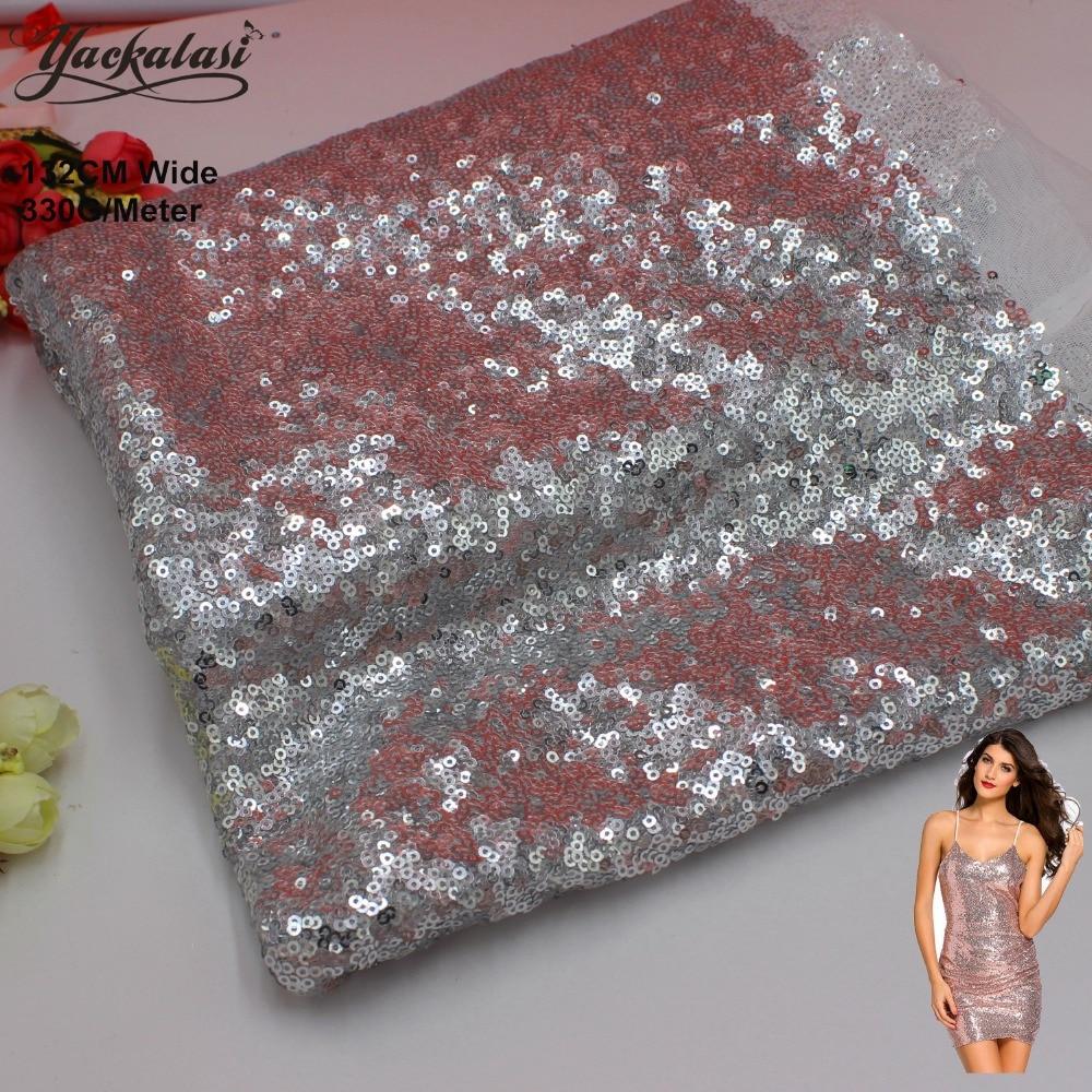 YACKALASI Sequined krajky tkanina stříbrná celoplošný flitr vyšívané tkaniny noční šaty tkaniny vánoční výzdoba 130CM