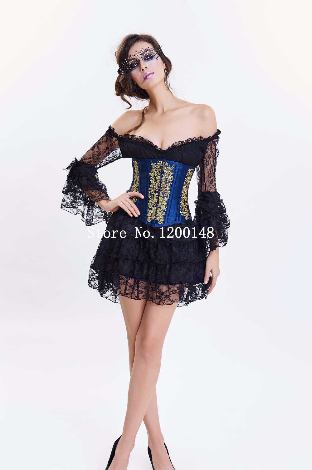 6c1424a7fe4 Halloween medieval costume Steampunk sexy Corsets Dress Gothic Corset Dress  Women High Waist Skirts Sexy Lace Bustier Corselet